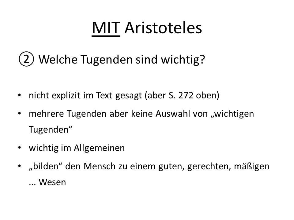 MIT Aristoteles Welche Tugenden sind wichtig