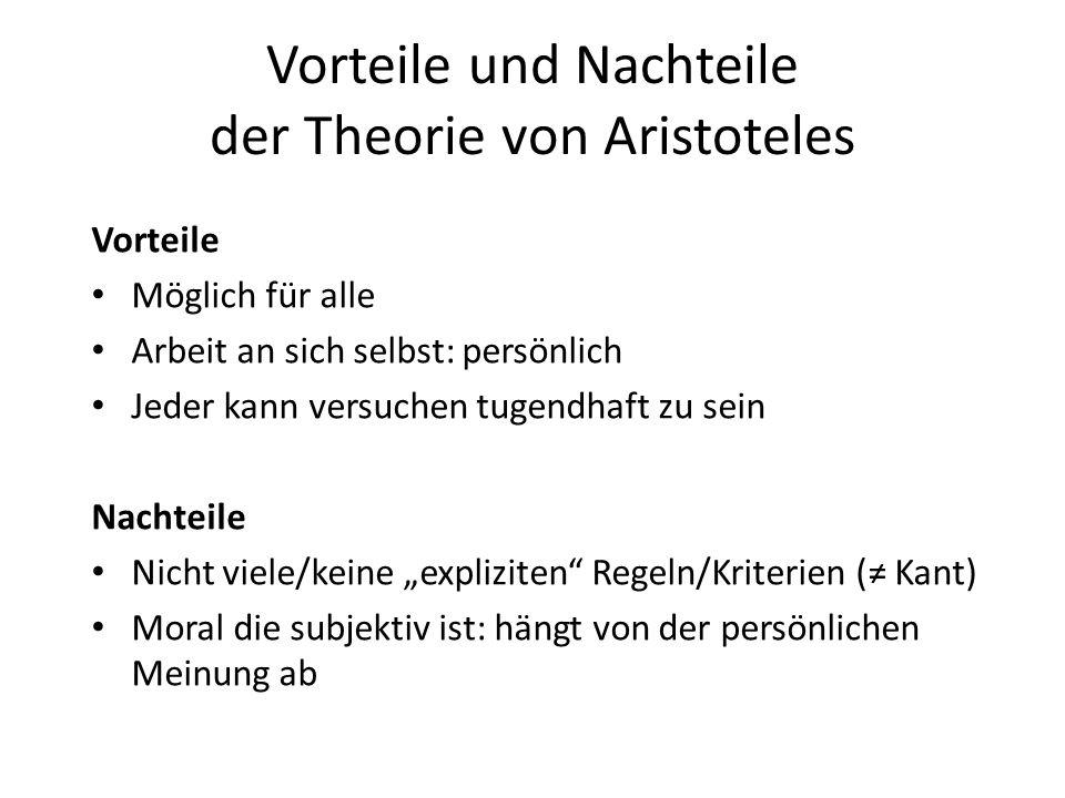 Vorteile und Nachteile der Theorie von Aristoteles