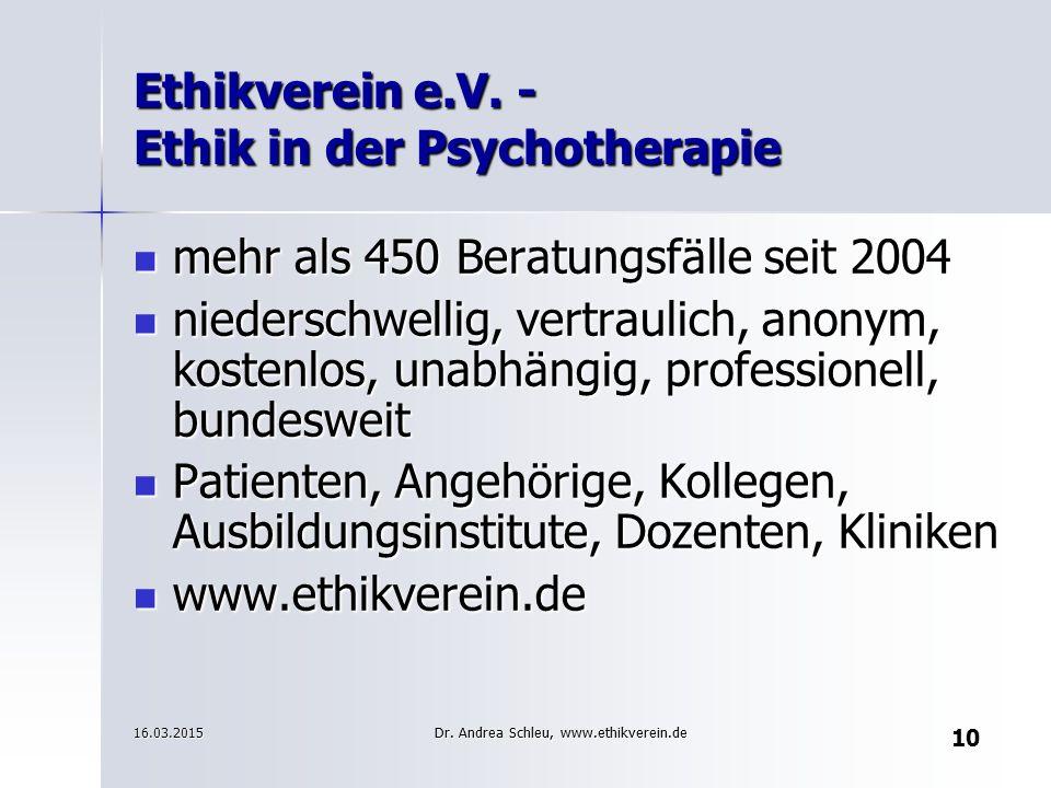 Ethikverein e.V. - Ethik in der Psychotherapie