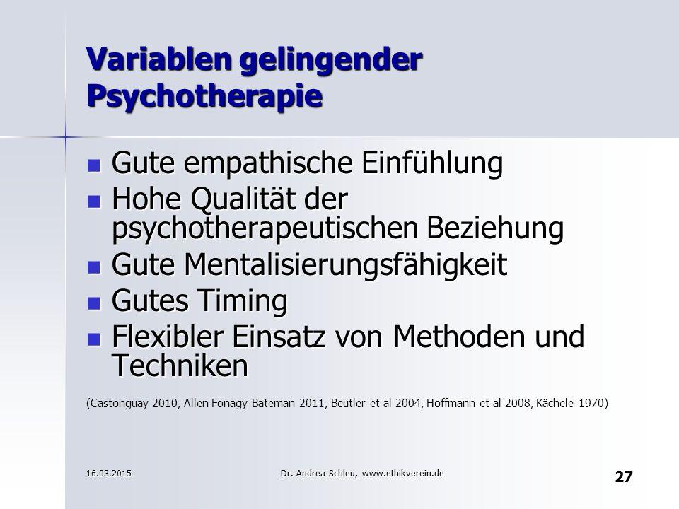 Variablen gelingender Psychotherapie