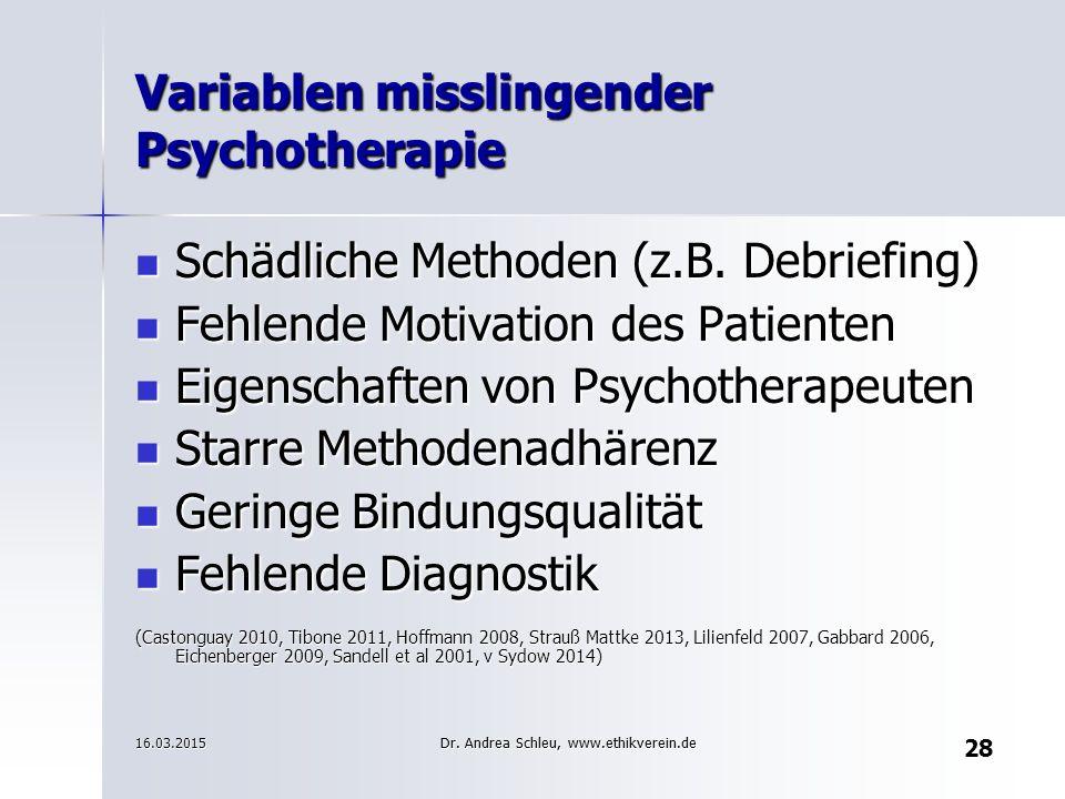 Variablen misslingender Psychotherapie