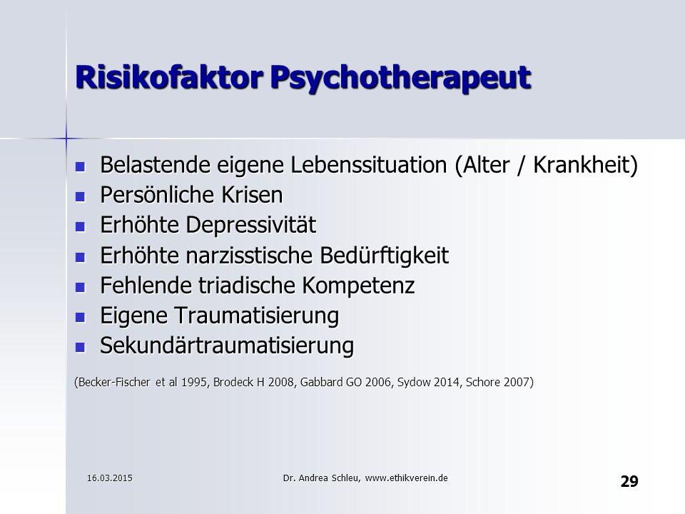 Risikofaktor Psychotherapeut