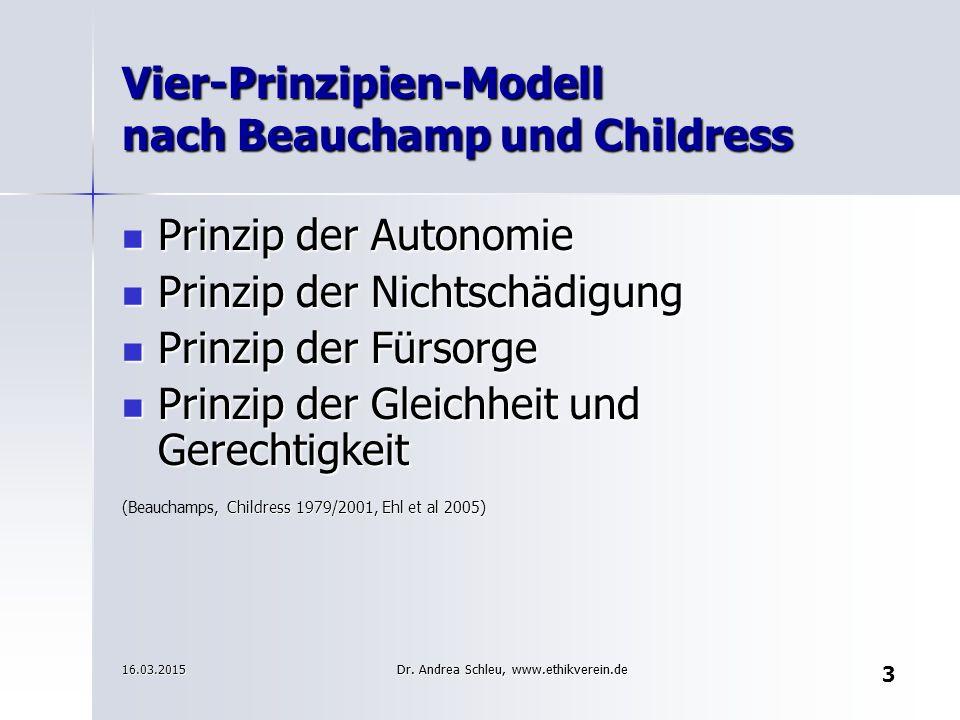 Vier-Prinzipien-Modell nach Beauchamp und Childress