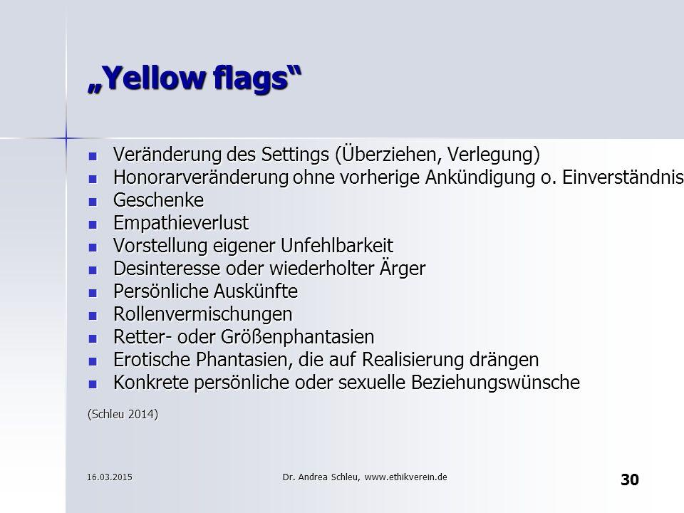 """Yellow flags Veränderung des Settings (Überziehen, Verlegung)"