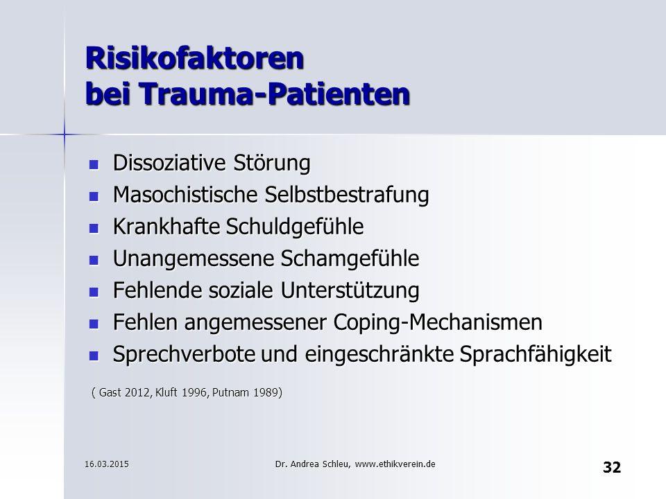 Risikofaktoren bei Trauma-Patienten