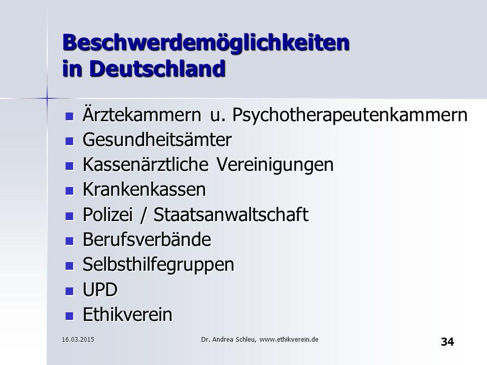 Beschwerdemöglichkeiten in Deutschland