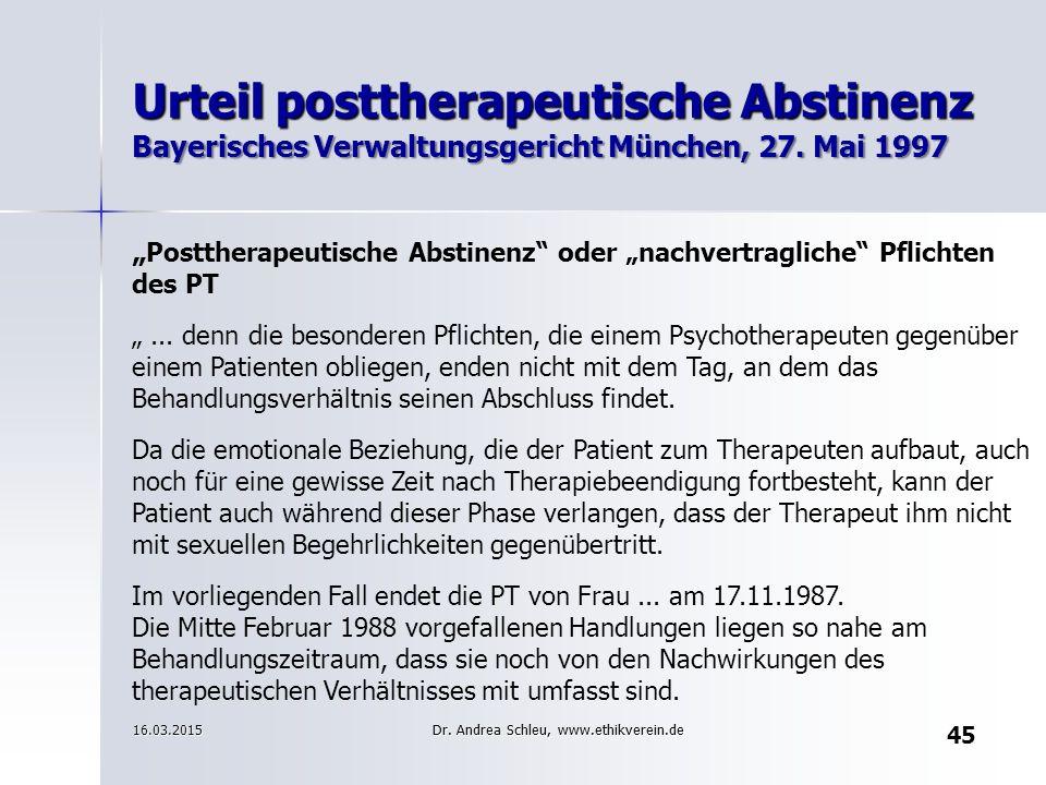 Urteil posttherapeutische Abstinenz Bayerisches Verwaltungsgericht München, 27. Mai 1997