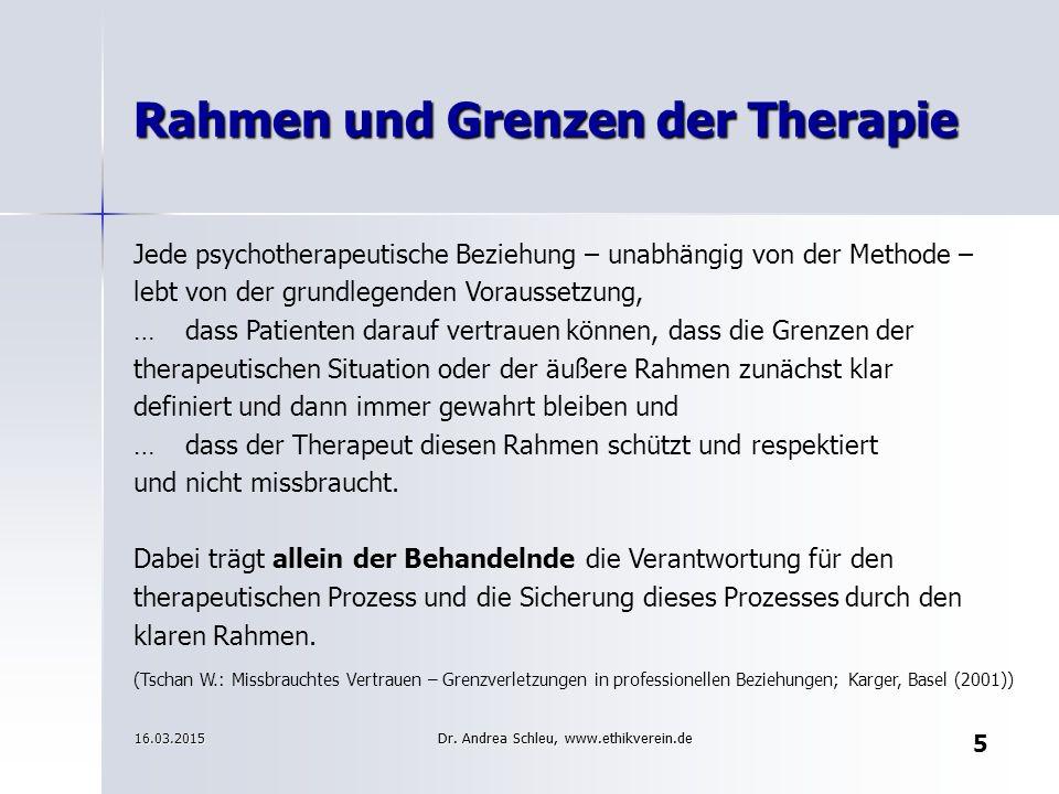 Rahmen und Grenzen der Therapie