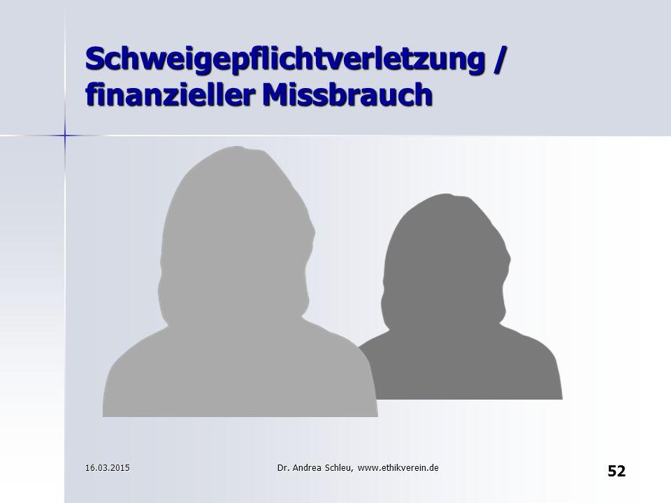 Schweigepflichtverletzung / finanzieller Missbrauch
