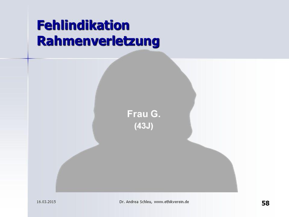 Fehlindikation Rahmenverletzung