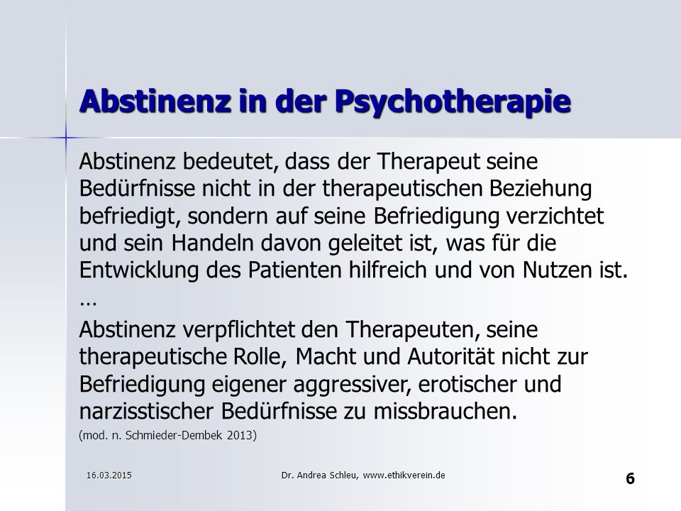 Abstinenz in der Psychotherapie