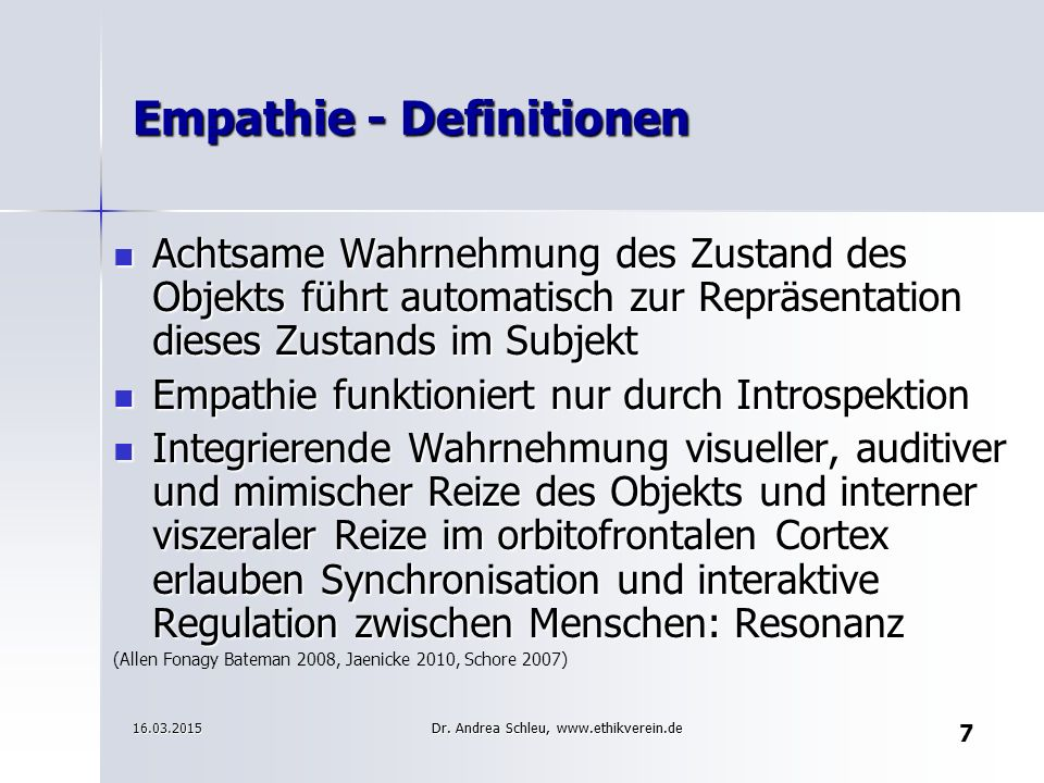 Empathie - Definitionen