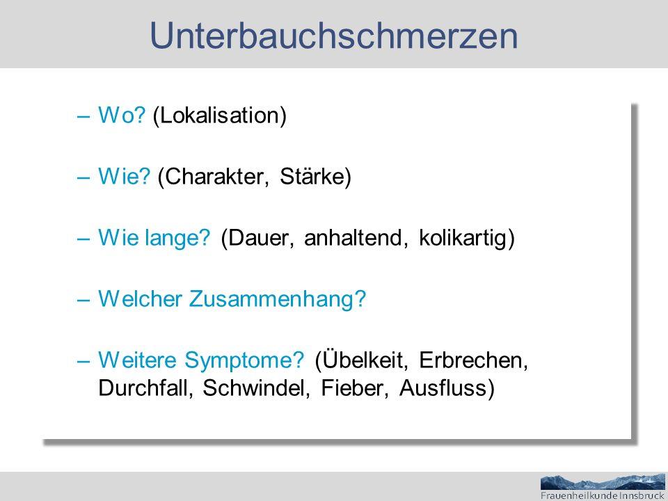 Unterbauchschmerzen Wo (Lokalisation) Wie (Charakter, Stärke)