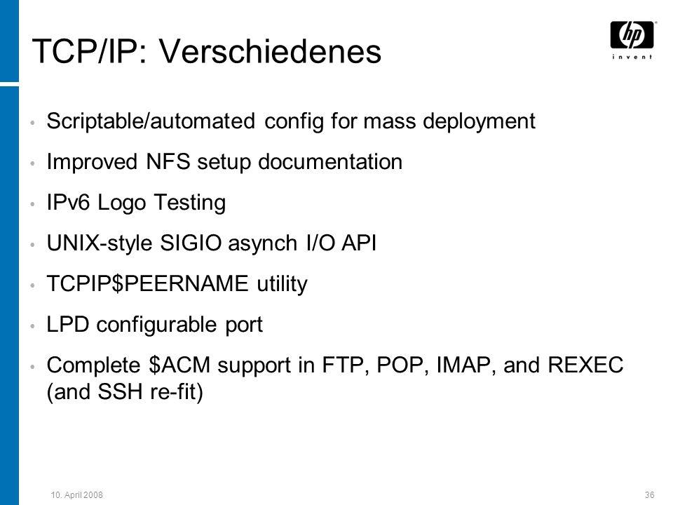 TCP/IP: Verschiedenes