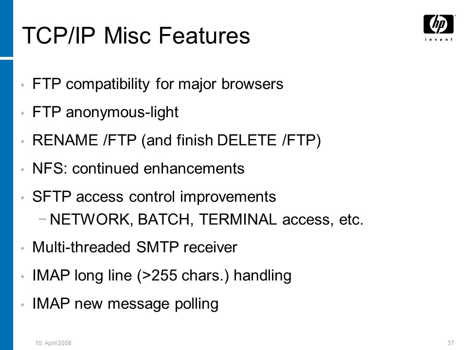 TCP/IP Misc Features FTP compatibility for major browsers