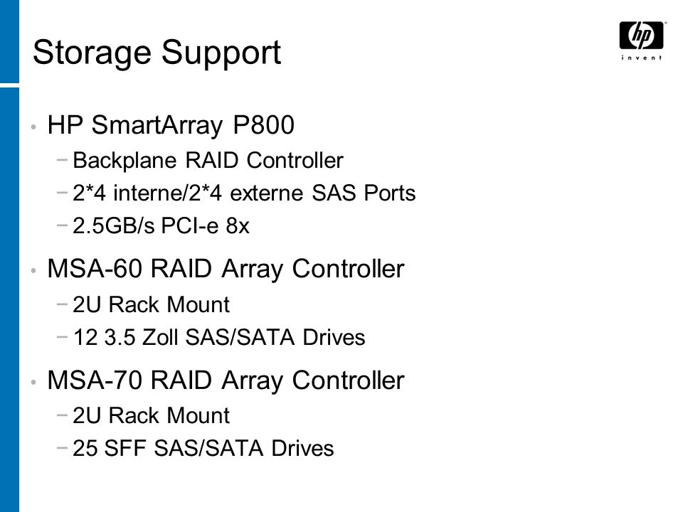 Storage Support HP SmartArray P800 MSA-60 RAID Array Controller