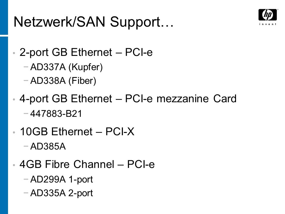 Netzwerk/SAN Support…