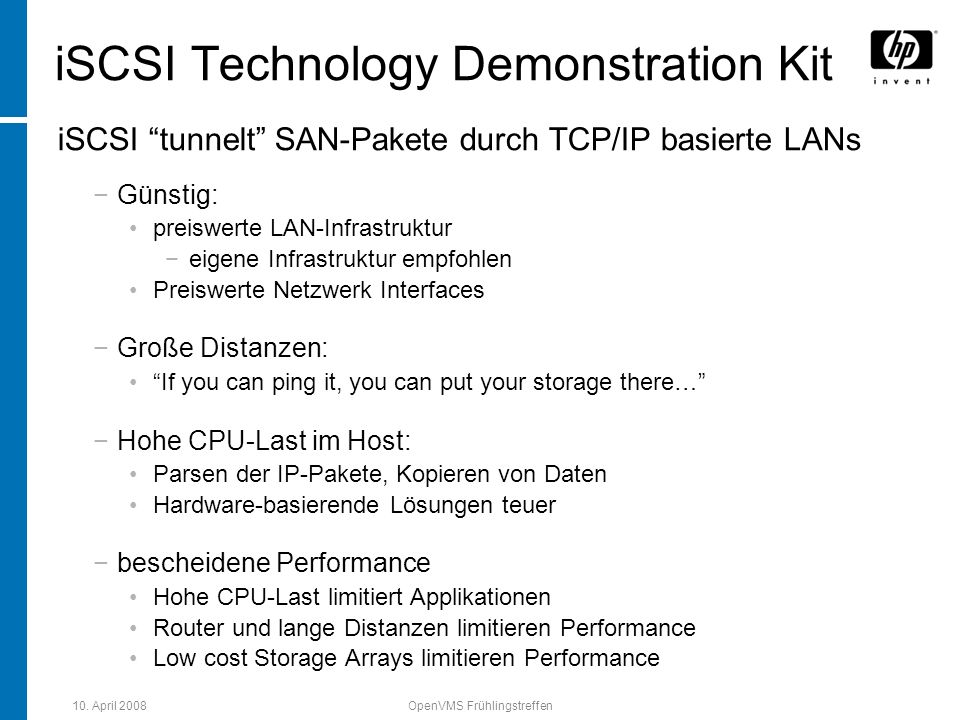 iSCSI Technology Demonstration Kit