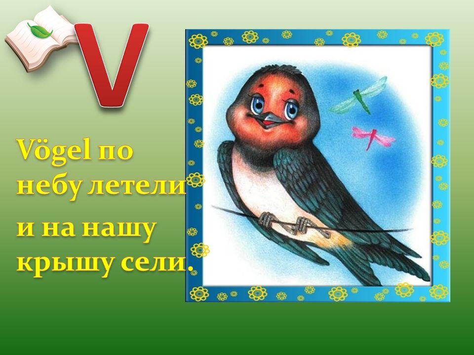 V Vögel по небу летели и на нашу крышу сели.