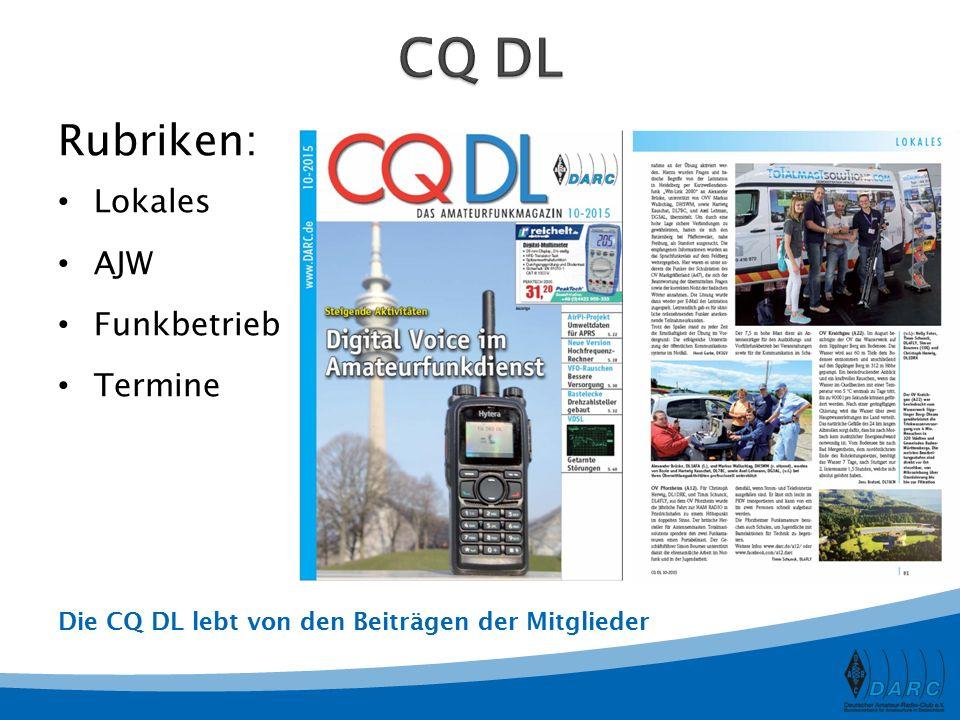 CQ DL Rubriken: Lokales AJW Funkbetrieb Termine