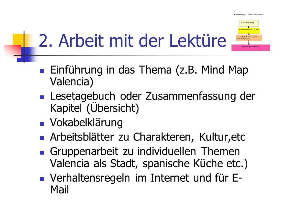 2. Arbeit mit der Lektüre Einführung in das Thema (z.B. Mind Map Valencia) Lesetagebuch oder Zusammenfassung der Kapitel (Übersicht)