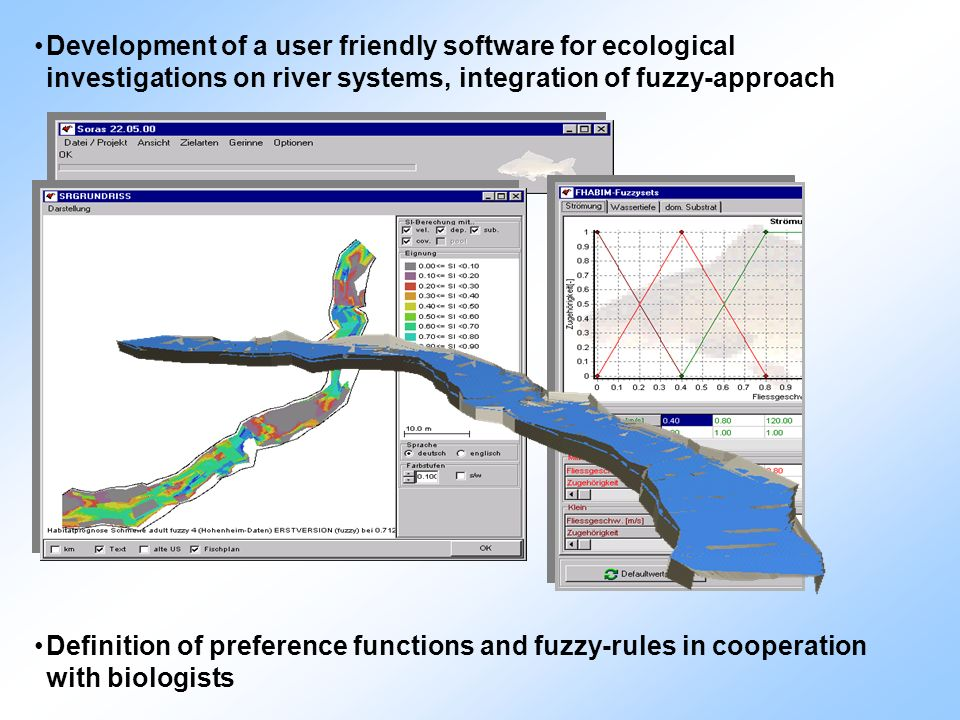 Development of a user friendly software for ecological investigations on river systems, integration of fuzzy-approach