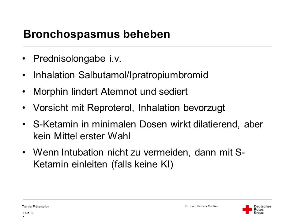 Bronchospasmus beheben
