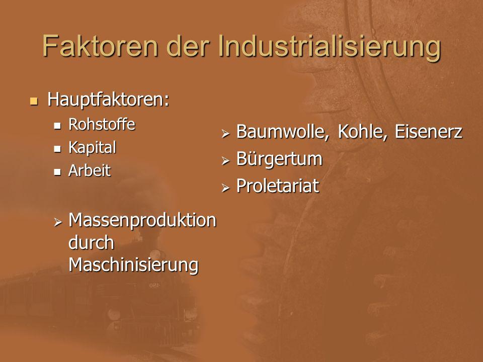 Faktoren der Industrialisierung