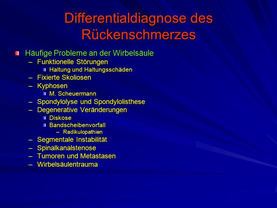 Differentialdiagnose des Rückenschmerzes