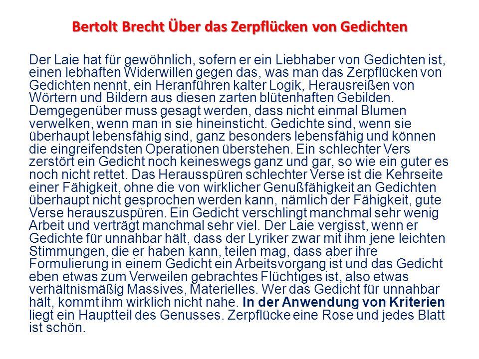 Bertolt Brecht Über das Zerpflücken von Gedichten