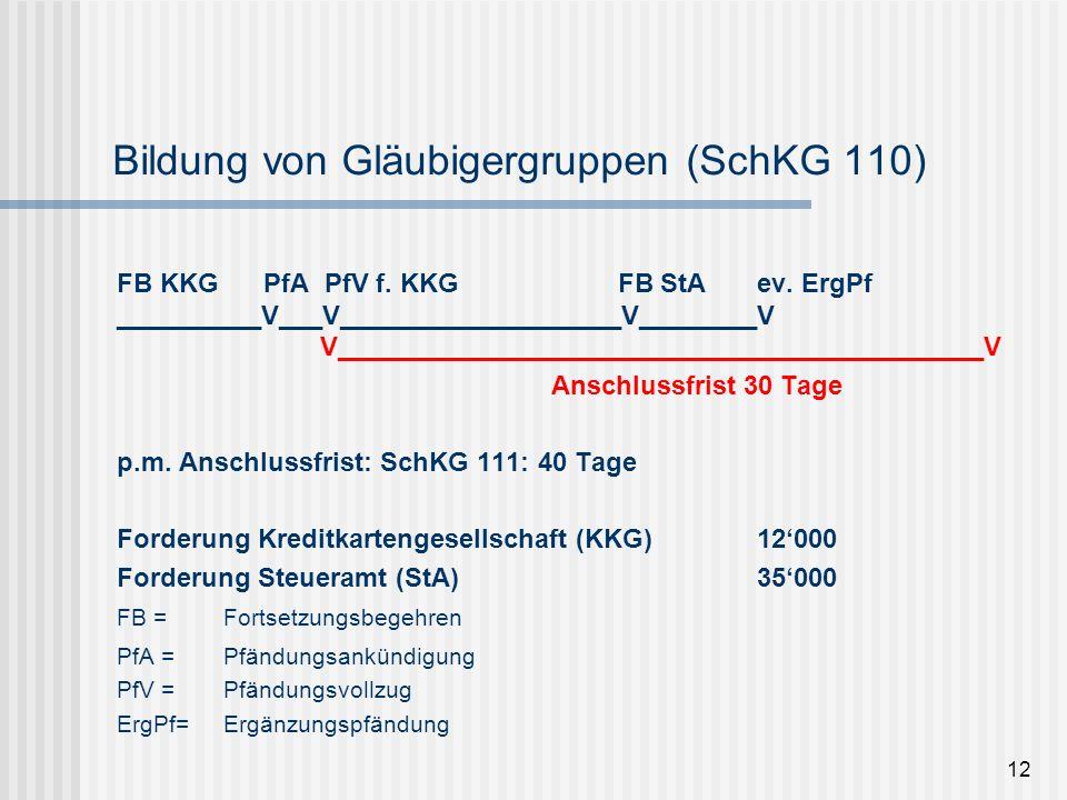 Bildung von Gläubigergruppen (SchKG 110)