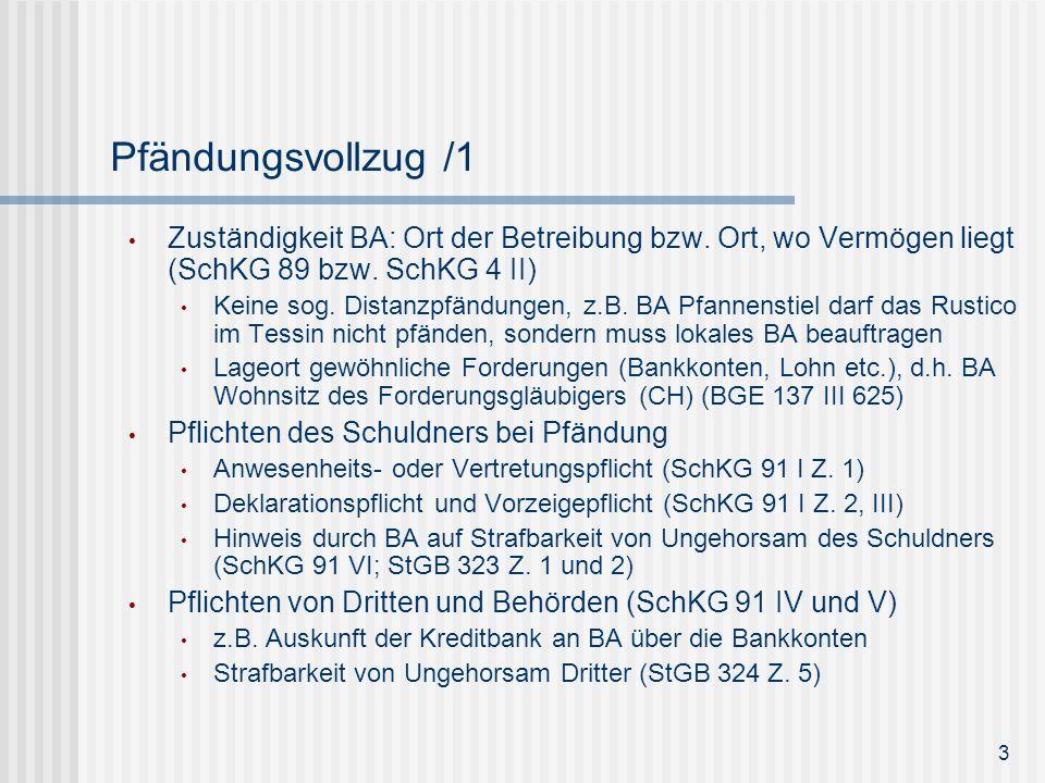 Pfändungsvollzug /1 Zuständigkeit BA: Ort der Betreibung bzw. Ort, wo Vermögen liegt (SchKG 89 bzw. SchKG 4 II)
