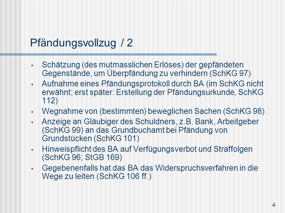 Pfändungsvollzug / 2 Schätzung (des mutmasslichen Erlöses) der gepfändeten Gegenstände, um Überpfändung zu verhindern (SchKG 97)