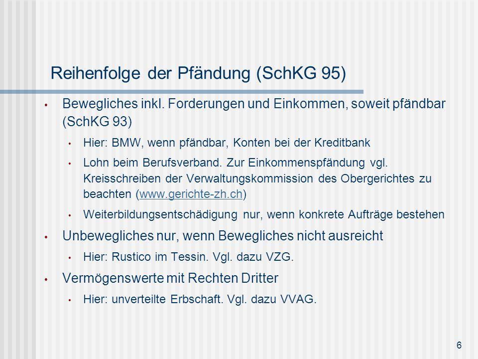 Reihenfolge der Pfändung (SchKG 95)