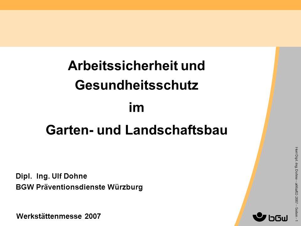 Arbeitssicherheit und Gesundheitsschutz im Garten- und Landschaftsbau