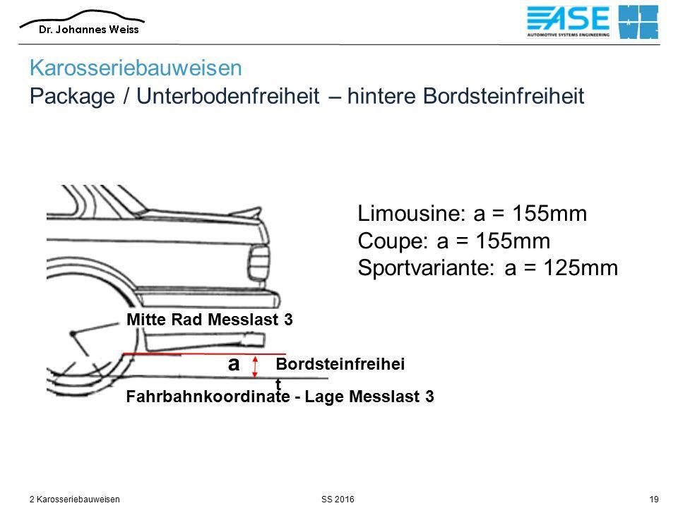 Karosseriebauweisen Package / Unterbodenfreiheit – hintere Bordsteinfreiheit