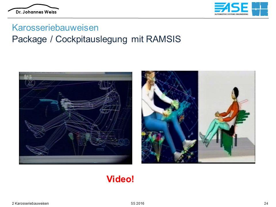 Karosseriebauweisen Package / Cockpitauslegung mit RAMSIS