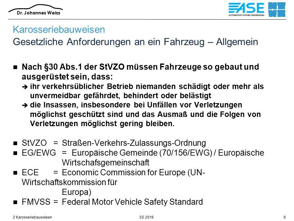 Karosseriebauweisen Gesetzliche Anforderungen an ein Fahrzeug – Allgemein