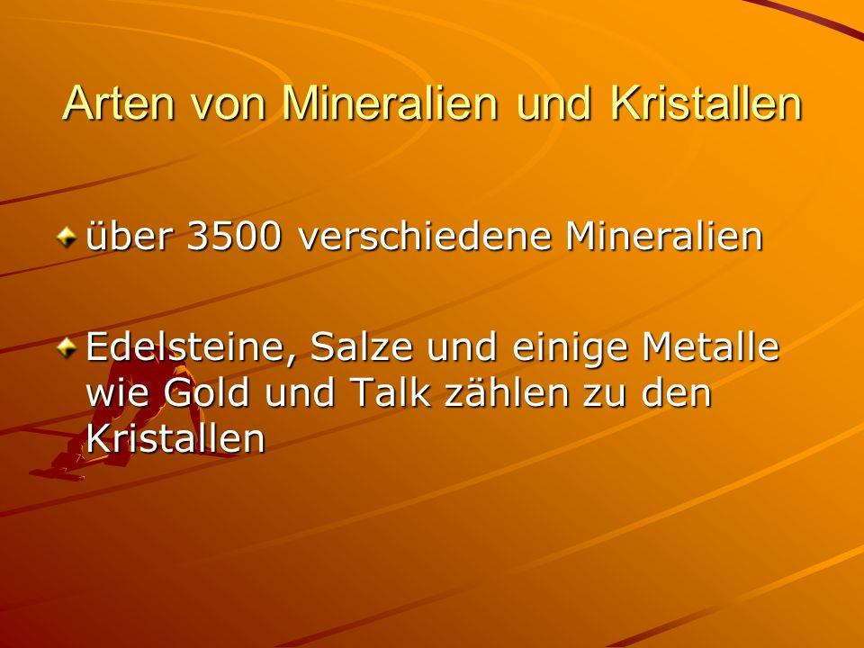 Arten von Mineralien und Kristallen