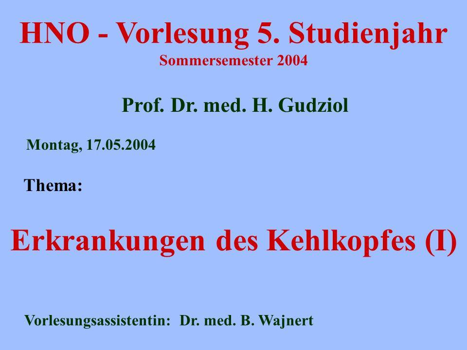 HNO - Vorlesung 5. Studienjahr Sommersemester 2004