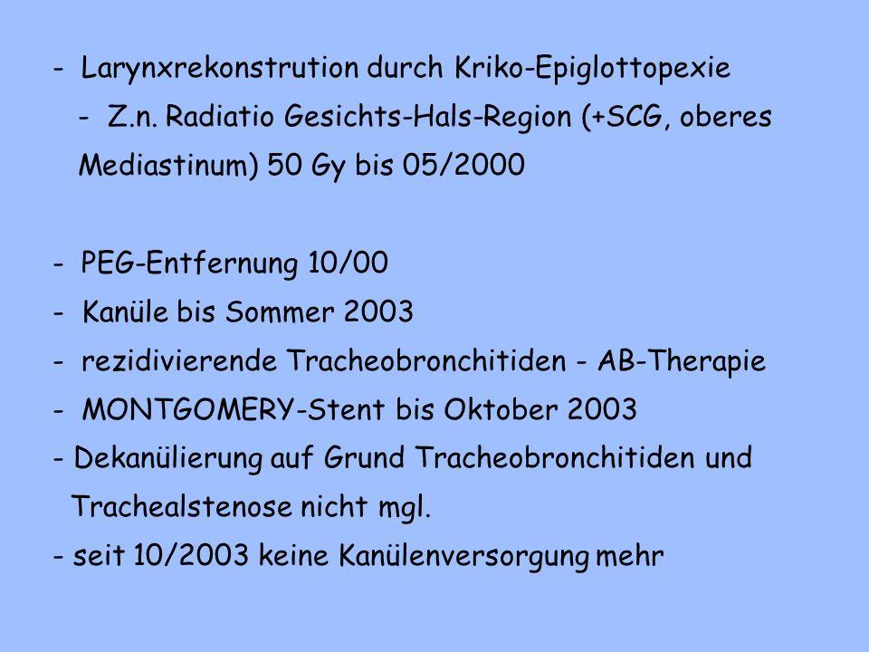 - Larynxrekonstrution durch Kriko-Epiglottopexie