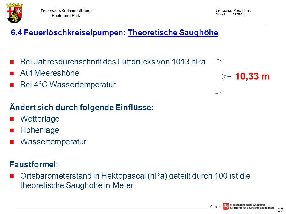 6.4 Feuerlöschkreiselpumpen: Theoretische Saughöhe