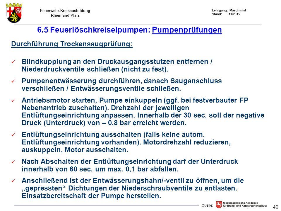 6.5 Feuerlöschkreiselpumpen: Pumpenprüfungen