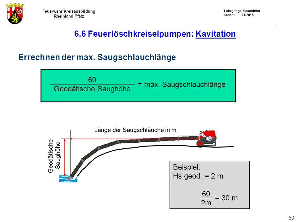 6.6 Feuerlöschkreiselpumpen: Kavitation