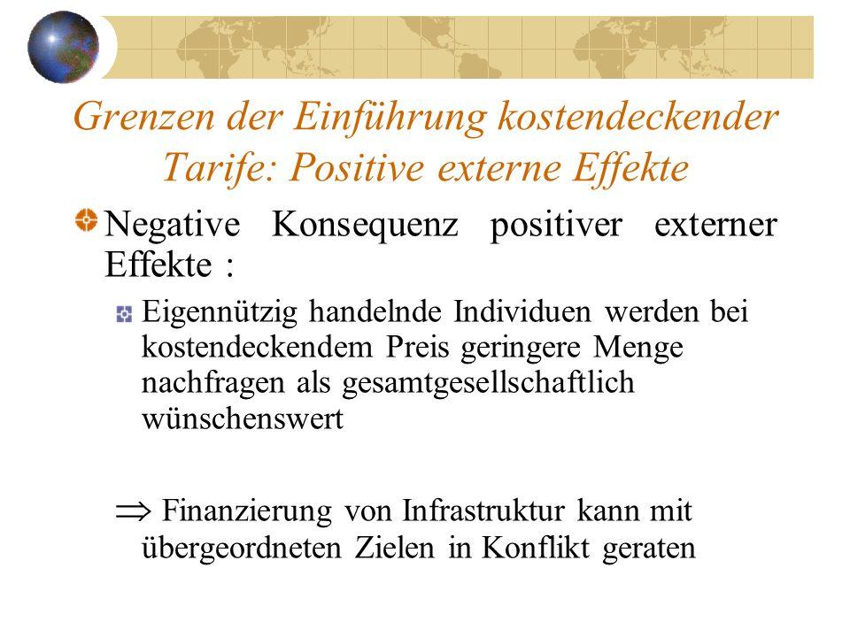 Grenzen der Einführung kostendeckender Tarife: Positive externe Effekte