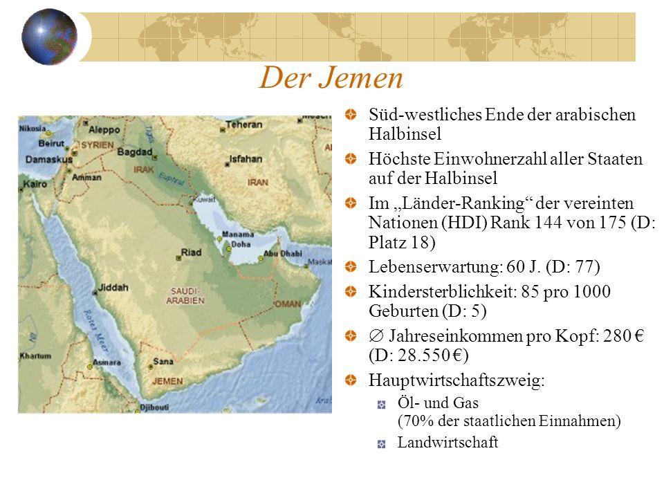 Der Jemen Süd-westliches Ende der arabischen Halbinsel