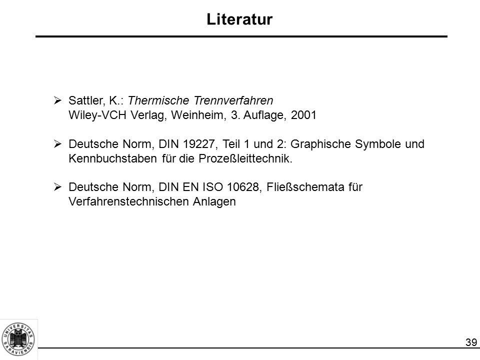 Literatur Sattler, K.: Thermische Trennverfahren Wiley-VCH Verlag, Weinheim, 3. Auflage, 2001.