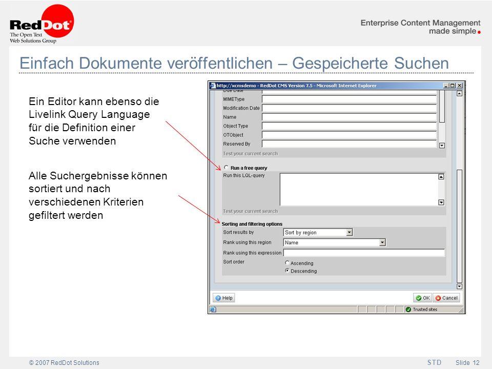Einfach Dokumente veröffentlichen – Gespeicherte Suchen