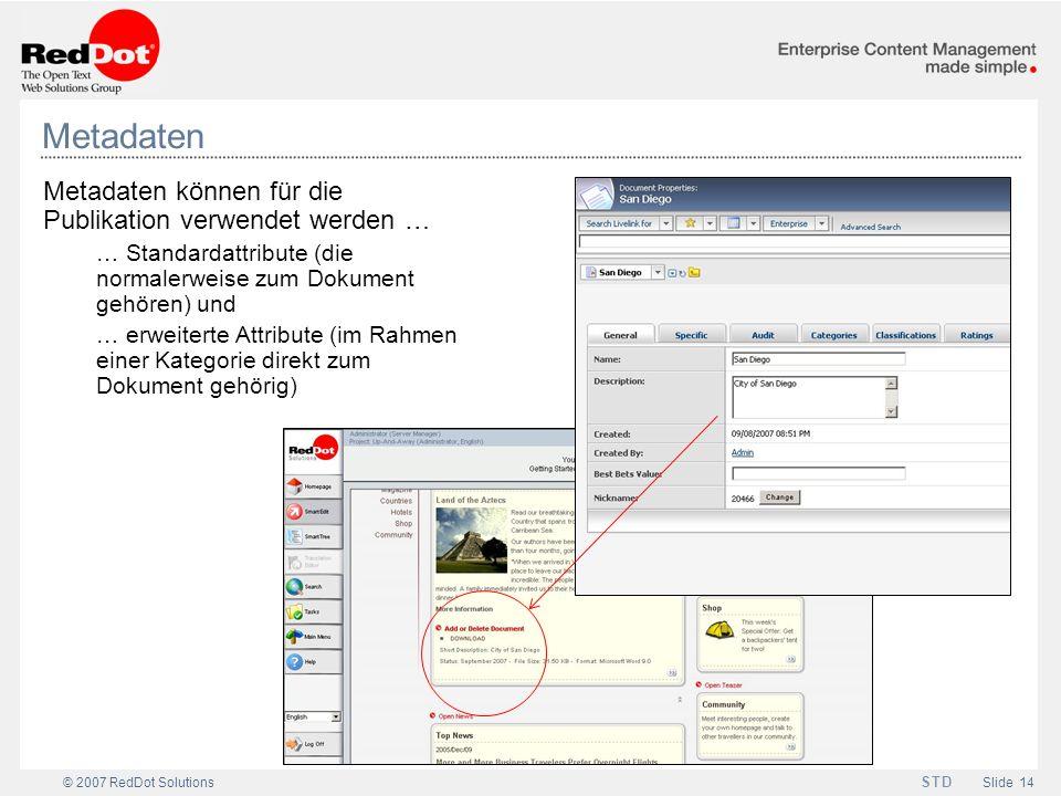 Metadaten Metadaten können für die Publikation verwendet werden …
