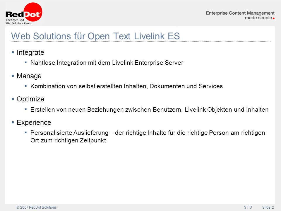 Web Solutions für Open Text Livelink ES